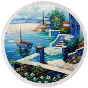 Vintage Art Round Beach Towel