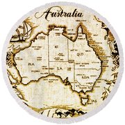 Vintage Australia Map Round Beach Towel