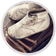 Vintage Baby Boots And Books Round Beach Towel