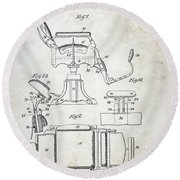 Vintage Barber Chair Patent Round Beach Towel