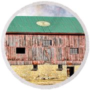 Vintage Barn - Wood And Stone Round Beach Towel