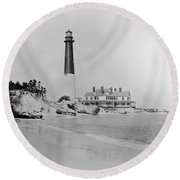 Vintage Barnegat Lighthouse  Round Beach Towel