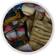 Vintage Baseball American Folk Art Round Beach Towel