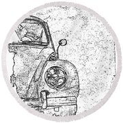 Vintage Beetle Round Beach Towel