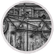 Vintage Bicycle Built For Two In Black And White Round Beach Towel