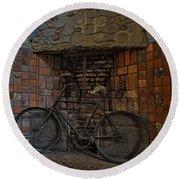Vintage Bicycle Round Beach Towel by Susan Candelario