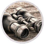 Vintage Binoculars Round Beach Towel