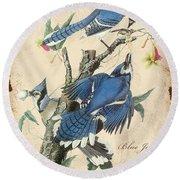 Vintage Bird Study-f Round Beach Towel