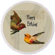 Vintage Birthday Birds Round Beach Towel