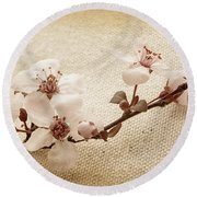 Vintage Blossoms Round Beach Towel