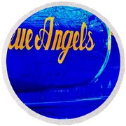 Vintage Blue Angel Round Beach Towel by Benjamin Yeager