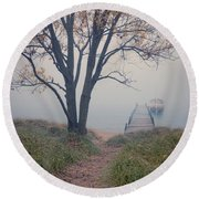 Vintage Boat At Small Dock Round Beach Towel