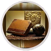 Vintage Book Fossil And Carved Orb Round Beach Towel
