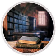 Vintage Books And Glasses In An Old Library Round Beach Towel