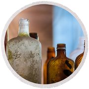 Vintage Bottles Round Beach Towel by Adam Romanowicz