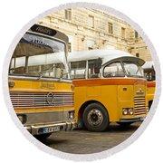 Vintage British Buses In Valetta Malta Round Beach Towel