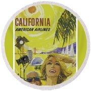 Vintage California Travel Poster Round Beach Towel