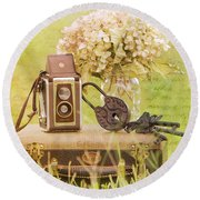 Vintage Camera And Case Round Beach Towel
