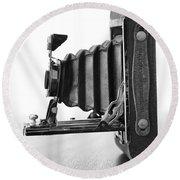 Vintage Camera - Black And White Round Beach Towel