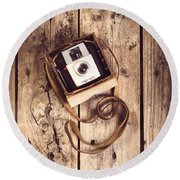 Vintage Camera Round Beach Towel