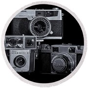 Vintage Camera Trio Round Beach Towel