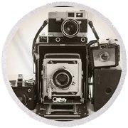 Vintage Cameras Round Beach Towel