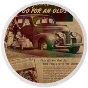 Vintage Car Advertisement 1939 Oldsmobile On Worn Faded Paper Round Beach Towel