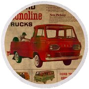 Vintage Car Advertisement 1961 Ford Econoline Truck Ad Poster On Worn Faded Paper Round Beach Towel