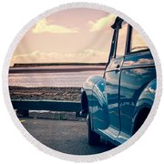 Vintage Car At The Beach  Round Beach Towel