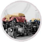 Vintage Car Carrier Round Beach Towel