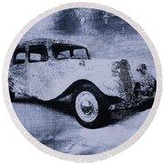 Vintage Car Round Beach Towel by David Ridley