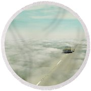Vintage Car Driving Into Clouds Round Beach Towel