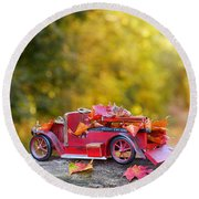 Vintage Car With Autumn Leaves Round Beach Towel