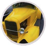 Vintage Car Yellow Round Beach Towel