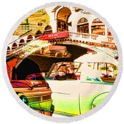 Vintage Cars Collage Round Beach Towel