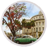 Vintage Cars Parked On A Street Round Beach Towel