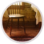 Vintage Chair And Table Round Beach Towel