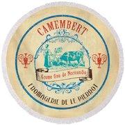 Vintage Cheese Label 3 Round Beach Towel by Debbie DeWitt