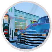 Vintage Chevrolet At The Gas Station Round Beach Towel
