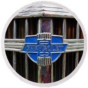 Vintage Chevrolet Grille Emblem Round Beach Towel