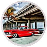 Vintage Chevy Impala Round Beach Towel