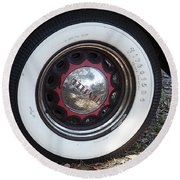 Vintage Chrysler Automobile Wide Whitewall Tire Poster Look Usa Round Beach Towel