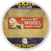 Vintage Cigar And Tobacco Signs Dsc07152 Round Beach Towel