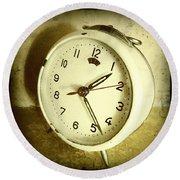 Vintage Clock Round Beach Towel