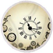 Vintage Clocks Round Beach Towel