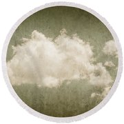 Vintage Clouds Background Round Beach Towel