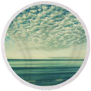 Vintage Clouds Round Beach Towel