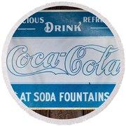 Vintage Coca Cola Ad Round Beach Towel