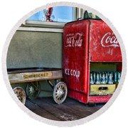Vintage Coca-cola And Rocket Wagon Round Beach Towel
