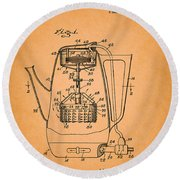 Vintage Coffee Maker Patent 1958 Round Beach Towel